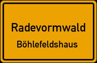 Ortsschild Radevormwald Böhlefeldshaus
