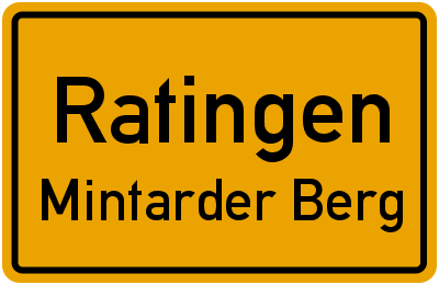 Ortsschild Ratingen Mintarder Berg