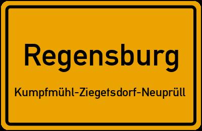 Ortsschild Regensburg Kumpfmühl-Ziegetsdorf-Neuprüll