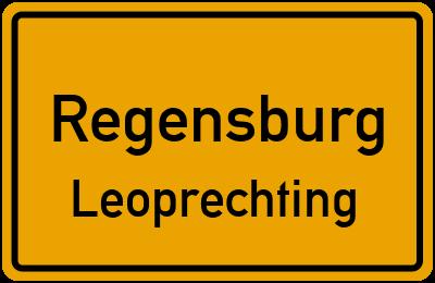 Ortsschild Regensburg Leoprechting