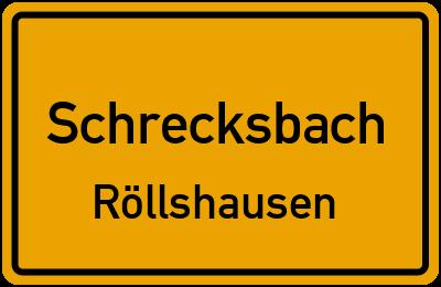 Ortsschild Schrecksbach Röllshausen