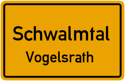 Ortsschild Schwalmtal Vogelsrath