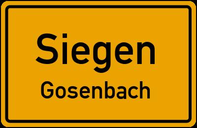 Ortsschild Siegen Gosenbach