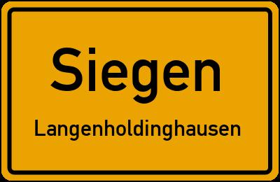 Ortsschild Siegen Langenholdinghausen