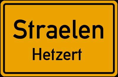 Ortsschild Straelen Hetzert