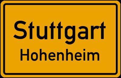 Ortsschild Stuttgart Hohenheim