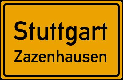 Ortsschild Stuttgart Zazenhausen
