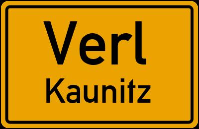 Ortsschild Verl Kaunitz