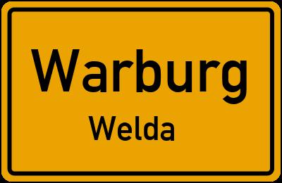 Ortsschild Warburg Welda