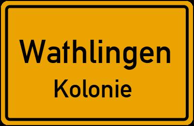 Ortsschild Wathlingen Kolonie