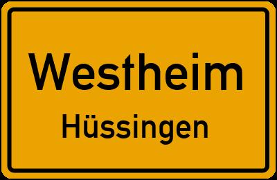 Ortsschild Westheim Hüssingen