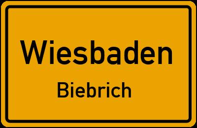 Ortsschild Wiesbaden Biebrich