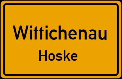 Ortsschild Wittichenau Hoske