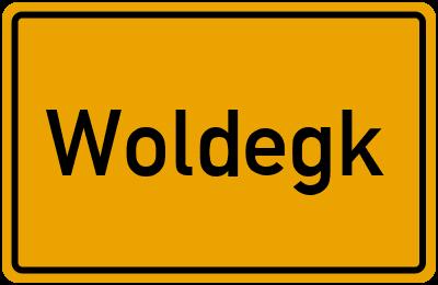Ortsschild von Woldegk in Mecklenburg-Vorpommern