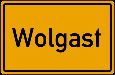 Ortsschild von Wolgast in Mecklenburg-Vorpommern