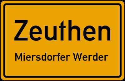 Ortsschild Zeuthen Miersdorfer Werder