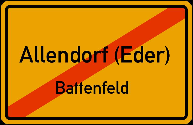 Ortsschild Allendorf (Eder)