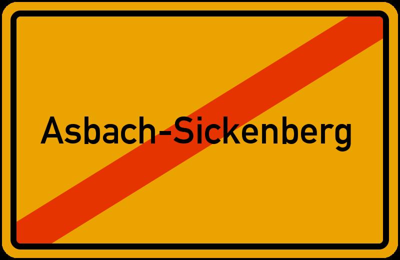 Ortsschild Asbach-Sickenberg