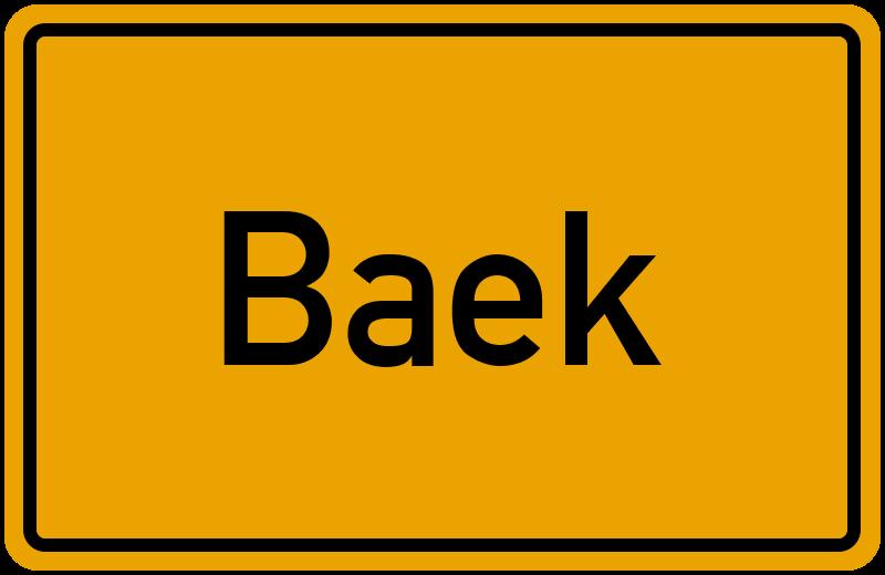 Ortsschild Baek