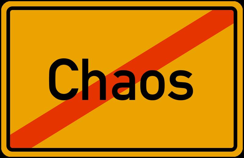 Ortsschild Chaos