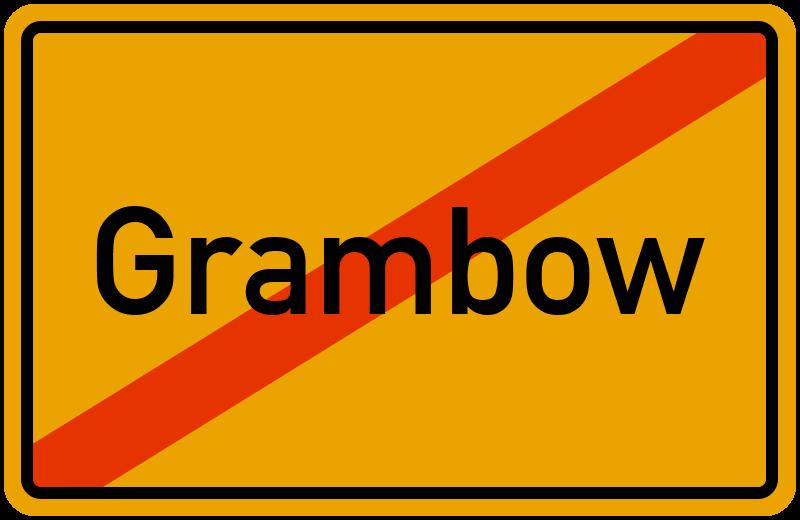 Ortsschild Grambow