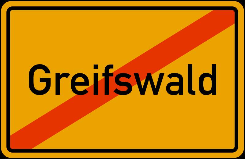 Ortsschild Greifswald