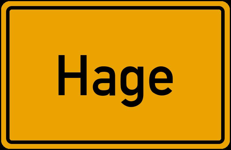 Ortsschild Hage