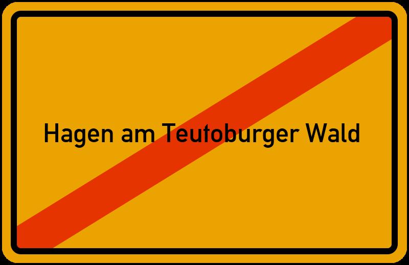 Ortsschild Hagen am Teutoburger Wald