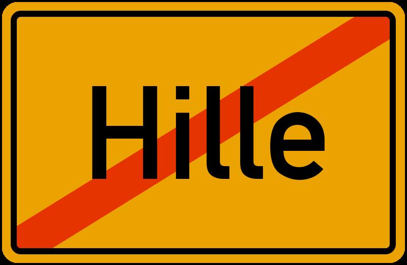 Ortsschild Hille