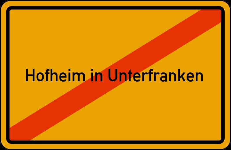 Ortsschild Hofheim in Unterfranken