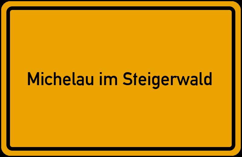 Ortsschild Michelau im Steigerwald