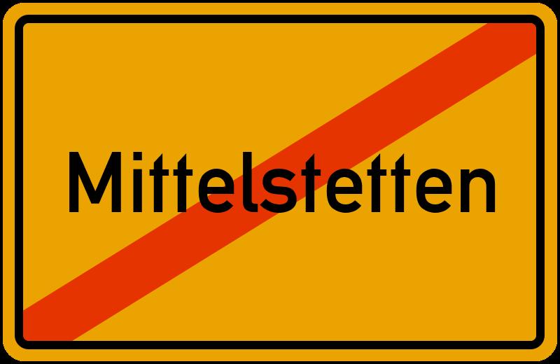 Ortsschild Mittelstetten
