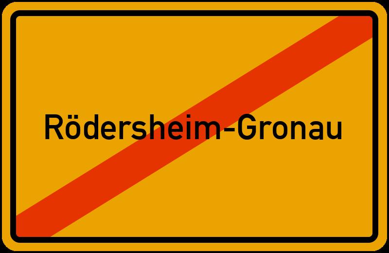 Ortsschild Rödersheim-Gronau