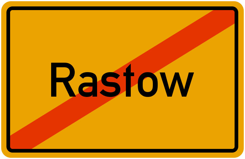Ortsschild Rastow