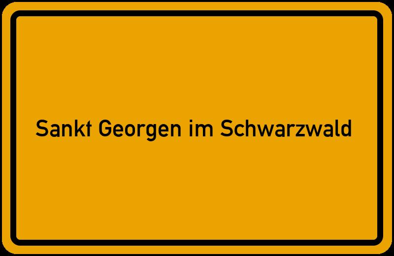 Ortsschild Sankt Georgen im Schwarzwald