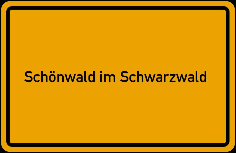 Ortsschild Schönwald im Schwarzwald