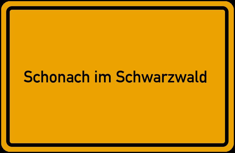 Ortsschild Schonach im Schwarzwald