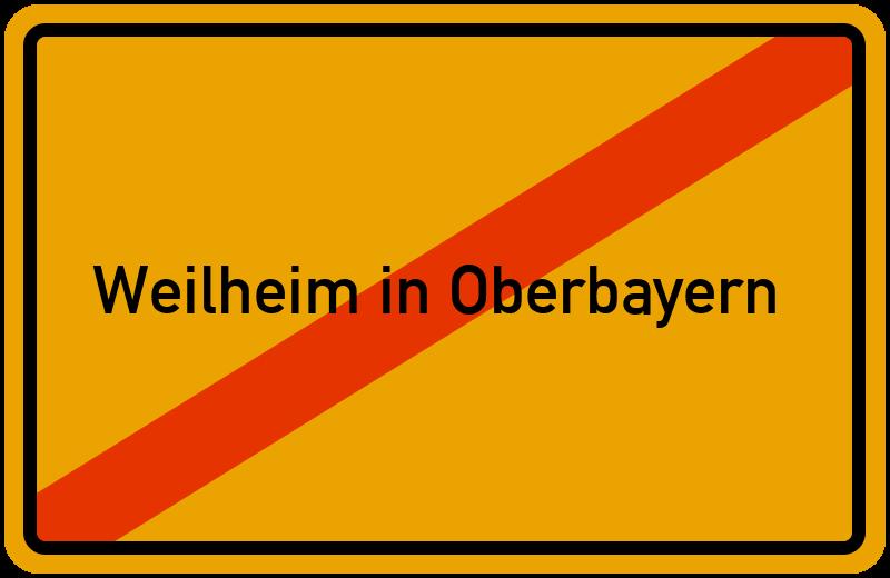 Ortsschild Weilheim in Oberbayern